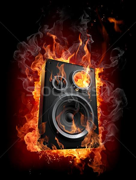 Yanan konuşmacı yangın arka plan duman kırmızı Stok fotoğraf © Misha