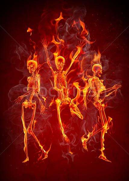 Stok fotoğraf: Dans · ateşli · yangın · parti · dans · duman