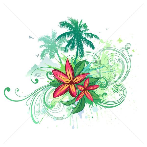 Trópusi absztrakt vektor pálmafák virág pillangó Stock fotó © Misha