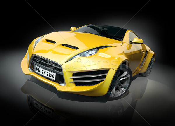 Yellow sports car on a black background. Non-branded car design. Stock photo © Misha