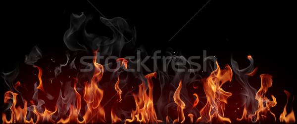Stok fotoğraf: Yangın · Alevler · siyah · arka · plan · güç · sıcak