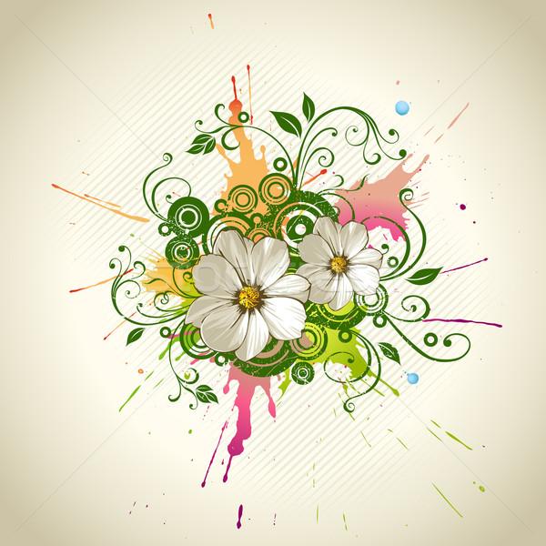 Vektor grunge virágmintás absztrakt virág terv Stock fotó © Misha