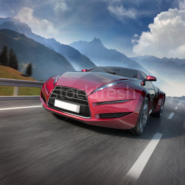 красный Спортивный автомобиль движущихся горные дороги оригинальный Сток-фото © Misha