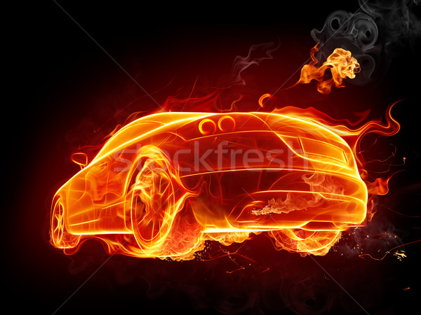 Kiégés forró autó tűz verseny autó Stock fotó © Misha