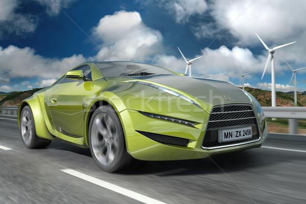 Vert voiture propre design logo Photo stock © Misha