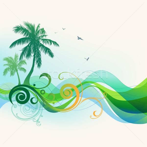 Nyár trópusi pálmafák hullámok tengerpart virág Stock fotó © Misha