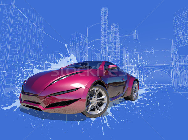 Photo stock: Voiture · originale · design · ville · pont · urbaine