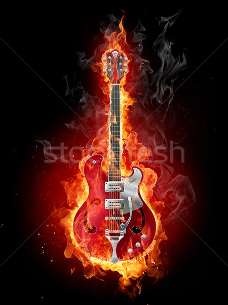Photo stock: Flaming · Rock · guitare · brûlant · noir · feu