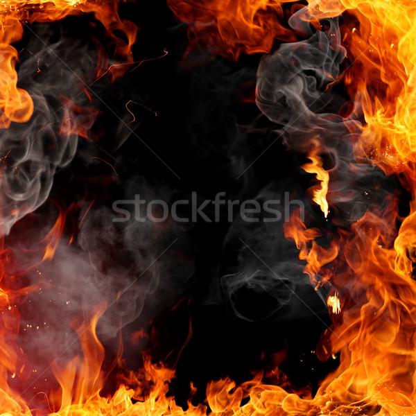 Tűz keret tüzes piros láng hátterek Stock fotó © Misha