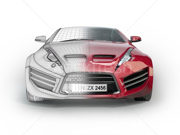 Piros sportautó izolált fehér autó erő Stock fotó © Misha