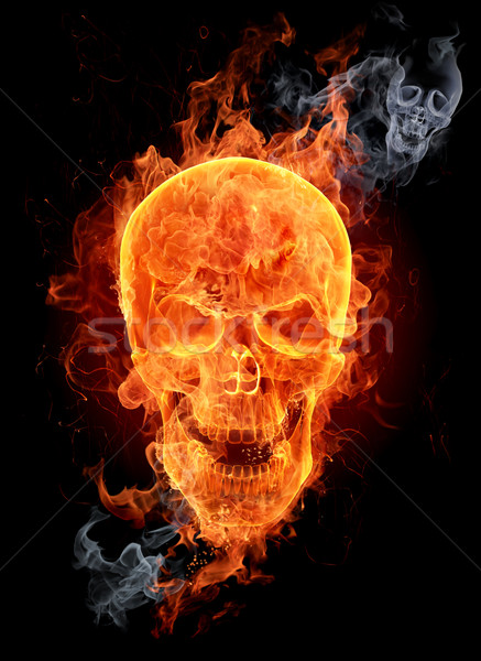 Flaming skull Stock photo © Misha