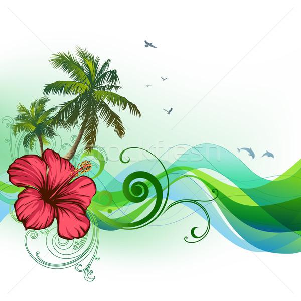 Hibiscus palmiers vagues été tropicales fleur Photo stock © Misha