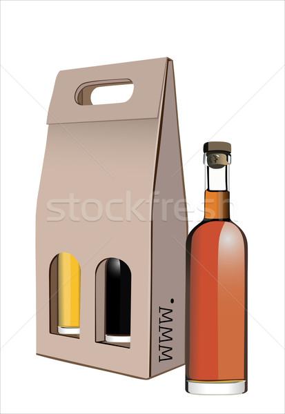 Karton ajándék bor üvegek doboz vacsora Stock fotó © mitay20