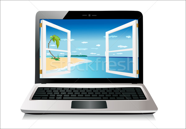 Laptop isolated on white, clipping path included Stock photo © mitay20