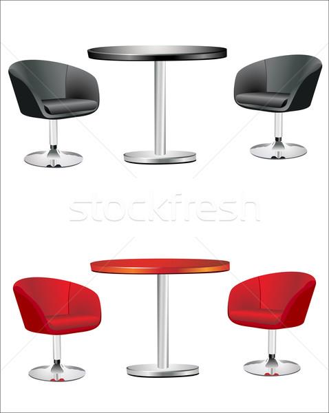 Modern székek asztal fehér háttér csoport Stock fotó © mitay20