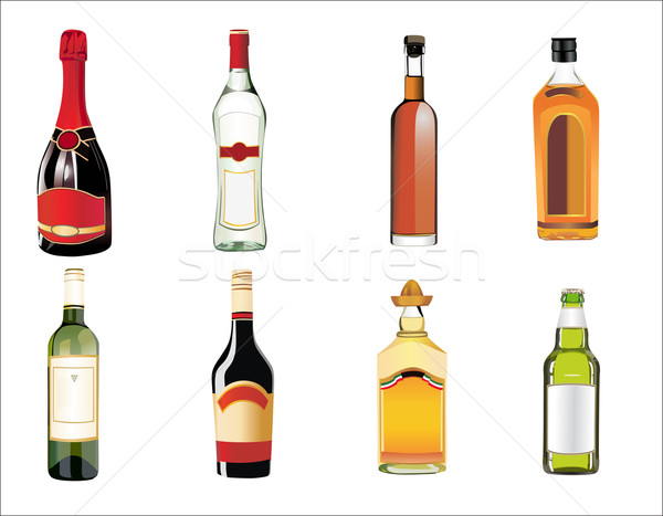 Stock photo: Set of different drinks and bottles on the wall. Vector illustration.