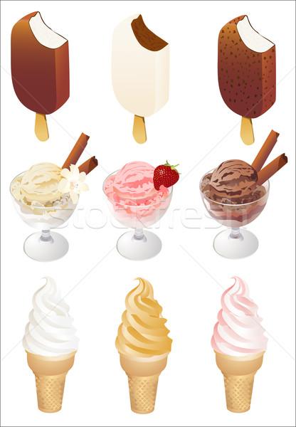 Dondurma simgeler vektör mutlu dizayn meyve Stok fotoğraf © mitay20