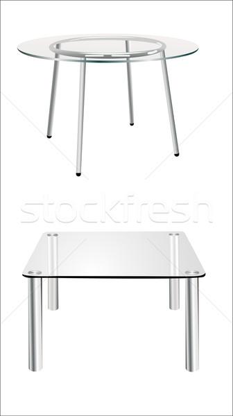 Modern üveg asztal izolált fehér kávé Stock fotó © mitay20