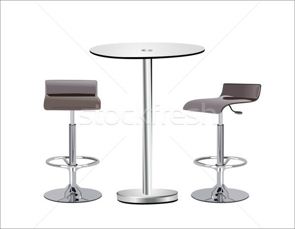 Magas üveg felső asztal székek fehér Stock fotó © mitay20