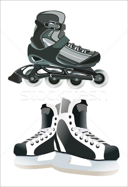 異なる スケート 氷 楽しい 速度 靴 ストックフォト © mitay20