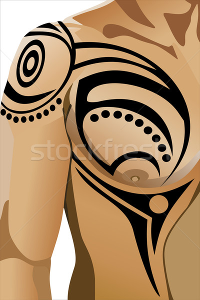 Tribal tattoo on male shoulder Stock photo © mitay20