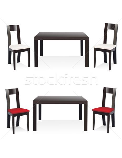 Minimális asztal székek ház textúra fal Stock fotó © mitay20