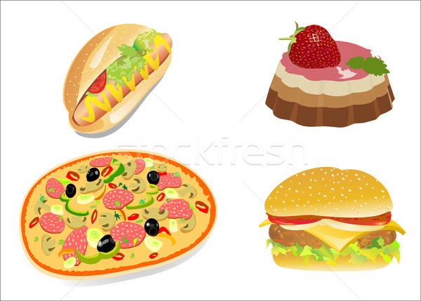 Colorful icons with fast food meals isolated Stock photo © mitay20