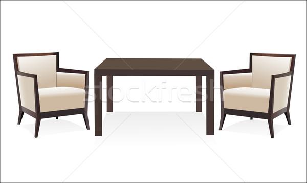 Modern székek asztal fehér háttér szék Stock fotó © mitay20