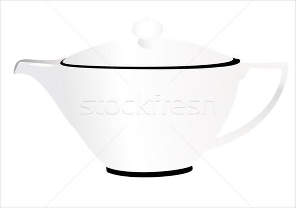 空っぽ ガラス ティーポット 白 背景 茶 ストックフォト © mitay20