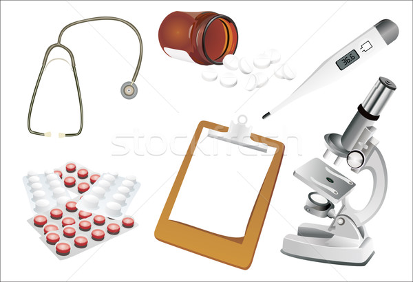 Orvosi szett kórház gyógyszer üveg bőrönd Stock fotó © mitay20