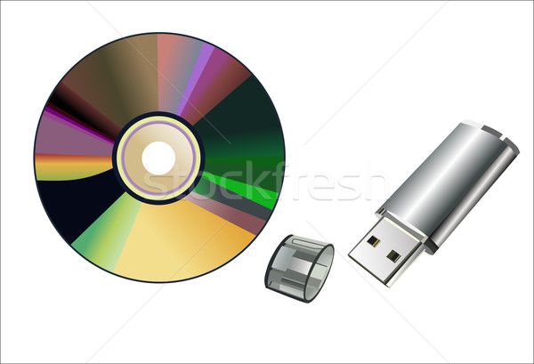 flash memory and computer disk isolated on a white background Stock photo © mitay20