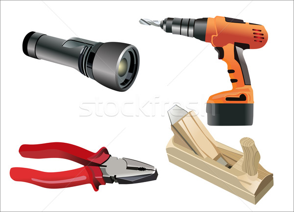 set of different tools over white background Stock photo © mitay20
