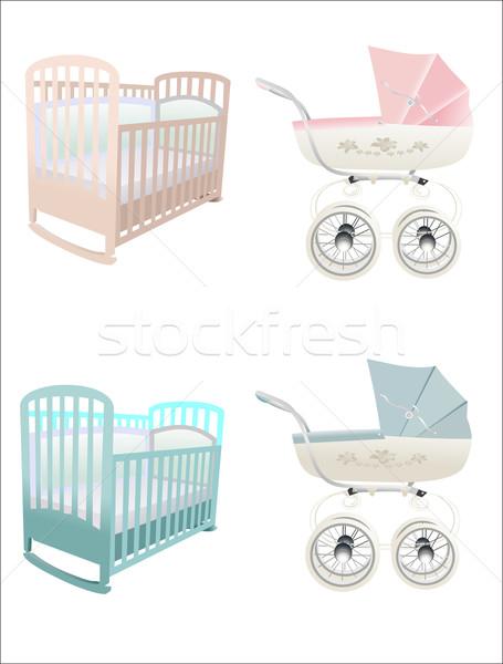 Otthon baba háttér ágy klasszikus kerék Stock fotó © mitay20