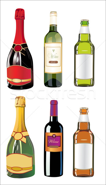 Set of different drinks and bottles on the wall. Vector illustration. Stock photo © mitay20