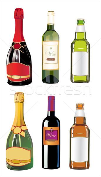 Szett különböző italok üvegek fal természet Stock fotó © mitay20