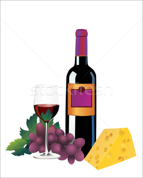 Wine, cheese and grapes. Over white Stock photo © mitay20