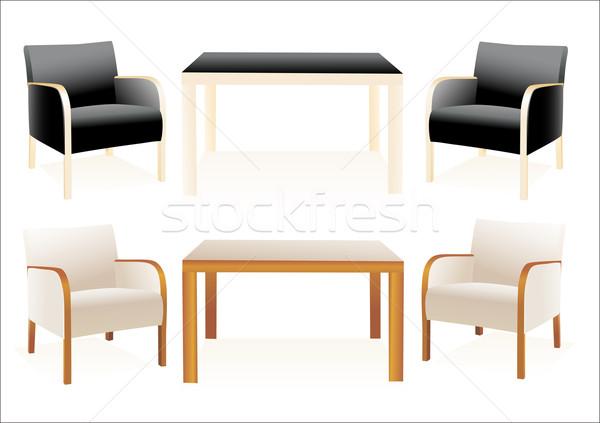 Modern székek asztal fehér étterem bár Stock fotó © mitay20