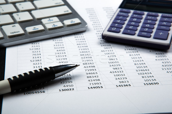 Negocios naturaleza muerta contabilidad calculadora ordenador papel Foto stock © mizar_21984