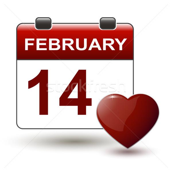 tear-off calendar with title 14 february Stock photo © mizar_21984