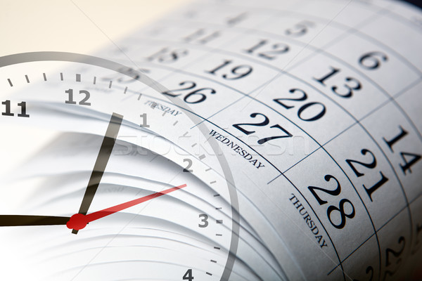 wall calendar with the number of days and clock Stock photo © mizar_21984