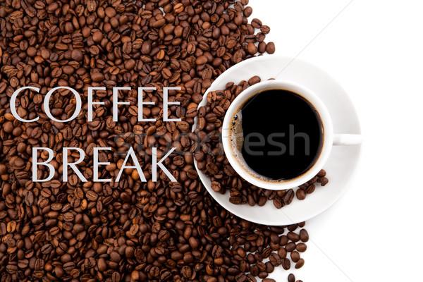 Кубок черный кофе кофе бобов белый Сток-фото © mizar_21984