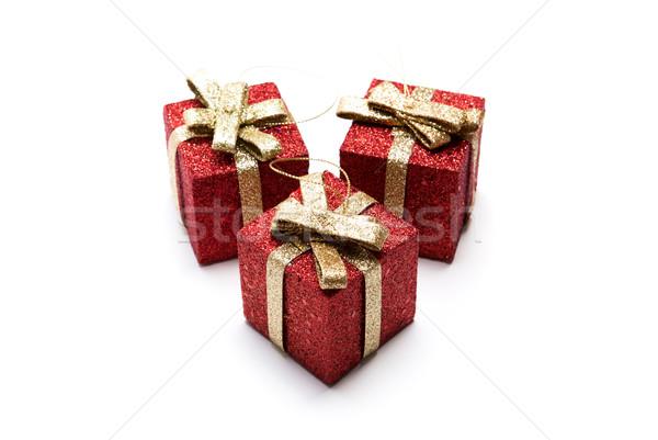 Mesterséges piros ajándékdobozok díszített doboz arany Stock fotó © mizar_21984