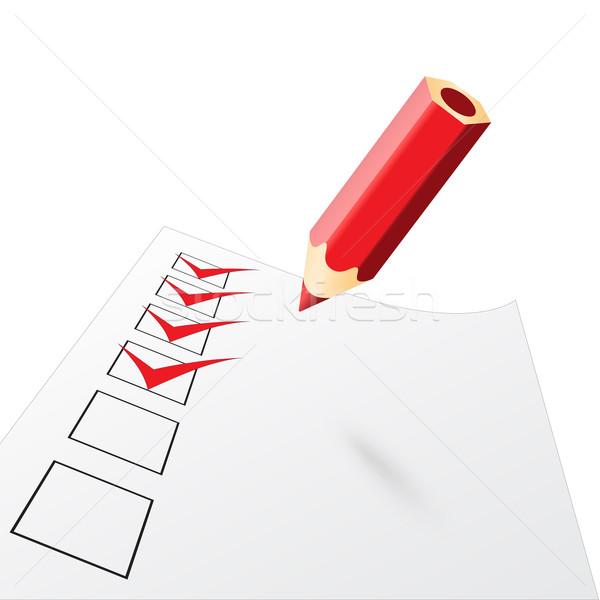 red penci with drawn ticks Stock photo © mizar_21984