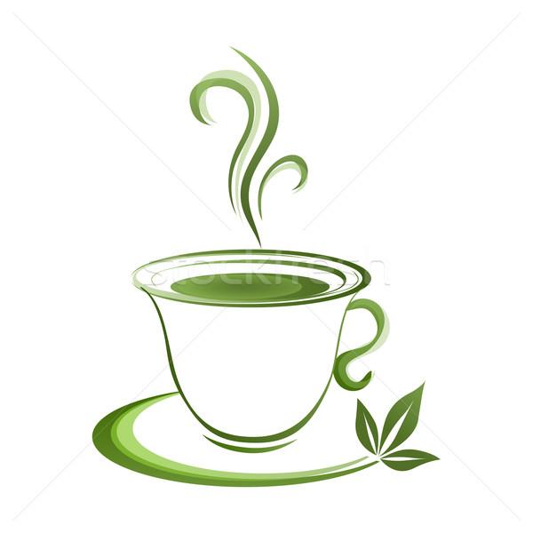 Teáscsésze ikon zöld étel levél bár Stock fotó © mizar_21984