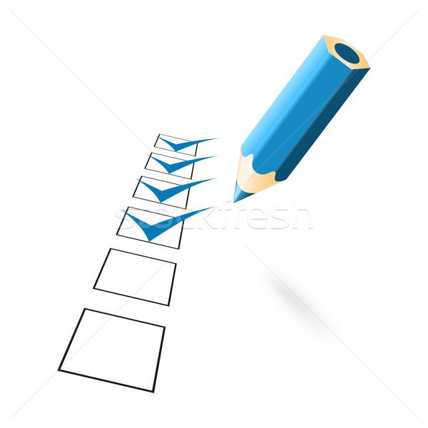 blue penci with drawn ticks Stock photo © mizar_21984