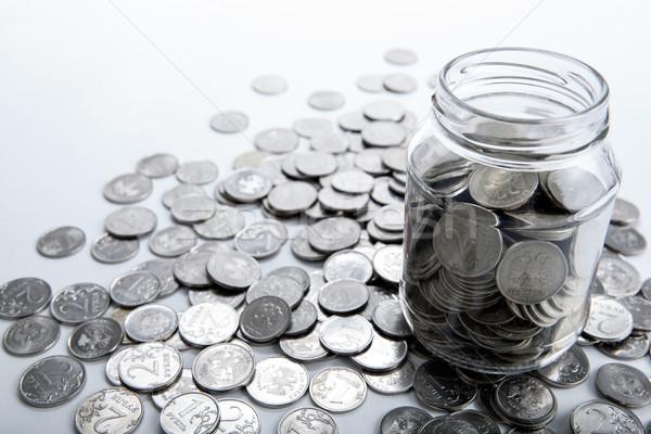 банка монетами Финансы рынке работу Сток-фото © mizar_21984