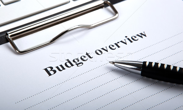 document with title budget overview and pen Stock photo © mizar_21984