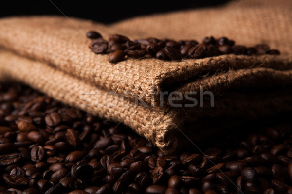 roasted coffee beans and coffee bag closeup Stock photo © mizar_21984