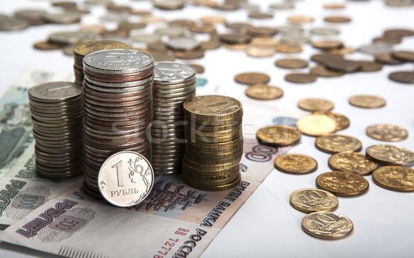 Orosz jegyzet közelkép pénz pénz érmék Stock fotó © mizar_21984