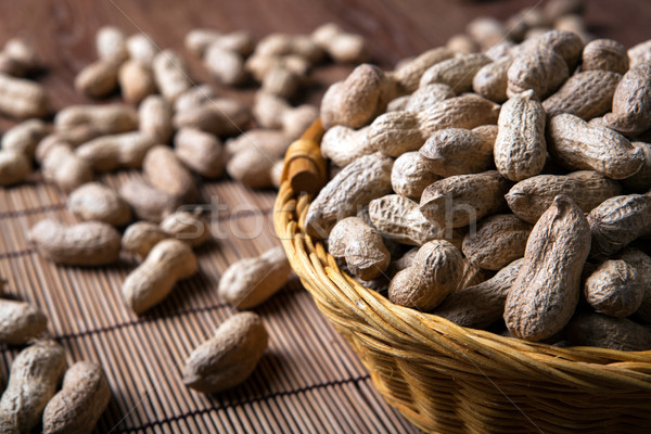 large grains of peanuts in the shell and basket Stock photo © mizar_21984
